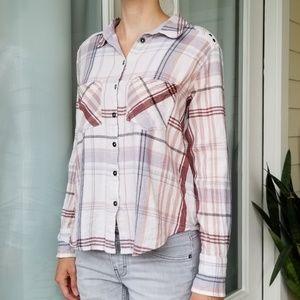 Free People Plaid Button Down Shirt